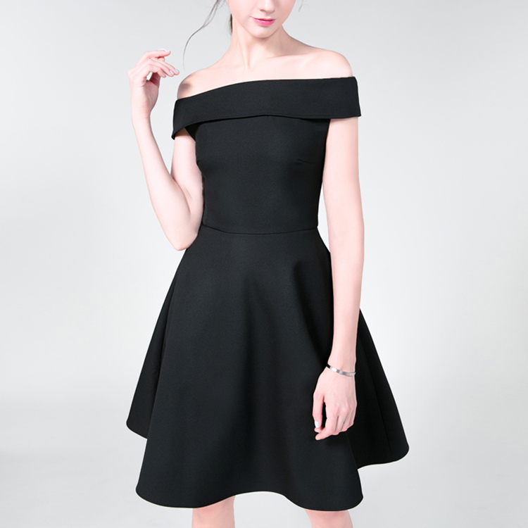 2018 Off-shoulder Fashion Style Beautiful Ladies Black Dress