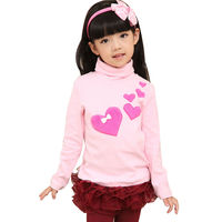 New Design Winter Fashion Children Top Pictures of Grls Cotton Blouse Cute Turtle Neck Sweater