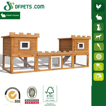 Double rabbit house connected bunny cage