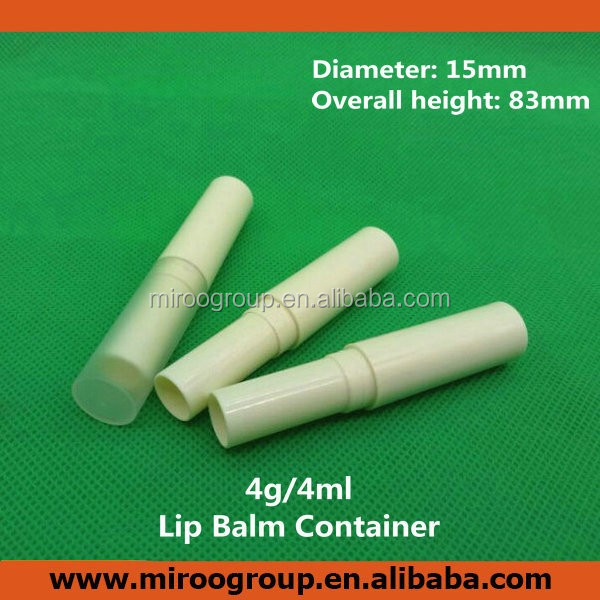kids lip container, promotional lip balm lip container, 4g sturdy plastic white glue stick container