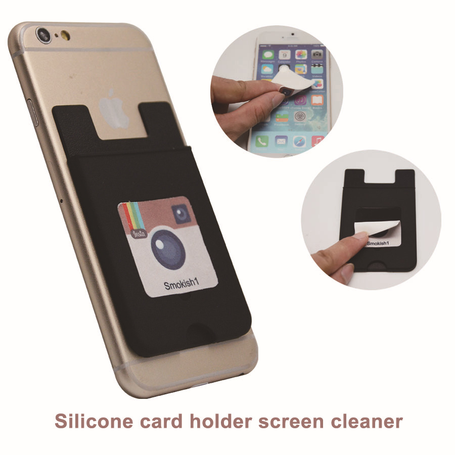 Silicone rubber business credit card holder attach to the back of smart phone