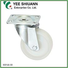 Yee Shiuann high quality stainless steel swivel white 200mm nylon6 wheel tyre
