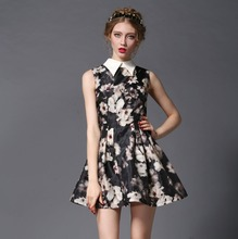 2015 latest custom sublimation printed party dresses OEM famous brand show hot sell lady fashion dress
