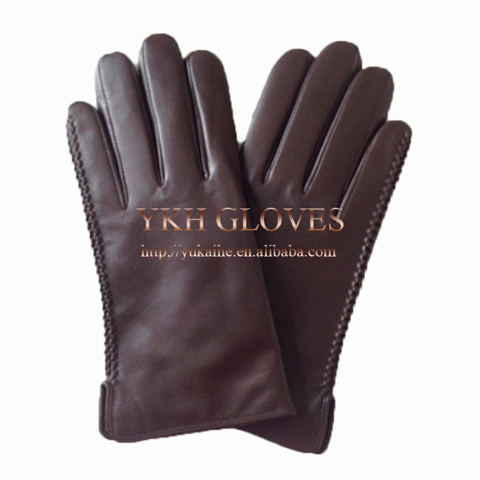 Brown custom made mens driving leather gloves