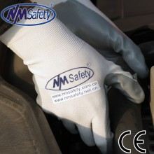 NMSAFETY polyester coated nitrile gloves for glass industrial