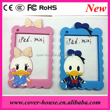 New Arrival Diasy 3D Donald Duck silicone frame case for iPad mini/iPad mini2