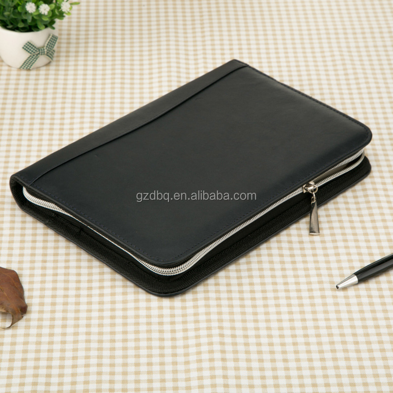 Soft Luxury PU Leather Business Meeting Organizer Notebook with pen/card