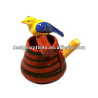 fancy pot shaped ceramic bird with whistle