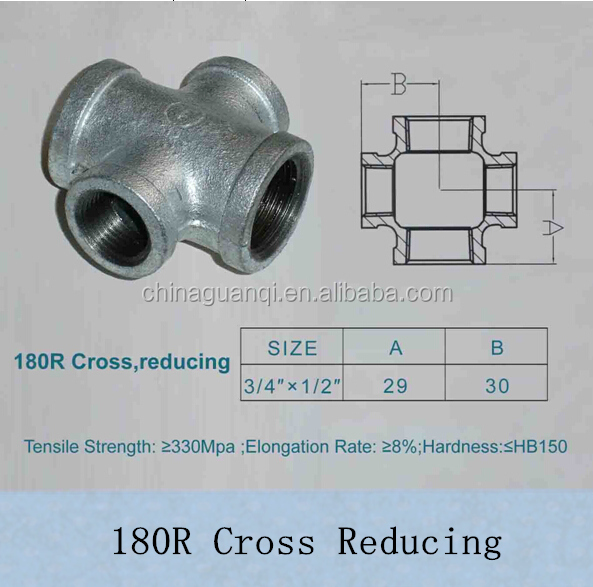 FM/UL/TSE/CE/ABNT/ISO Malleable Galvanized Iron/GI Plumbing Joints Pipe Fittings Bend Ductile Iron Banded Crossing Reducing