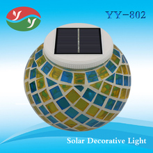 New Solar Powered Mosaic Glass Ball Garden Lights Color Changing Yard Balcony Lamps Waterproof Indoor Outdoor Light