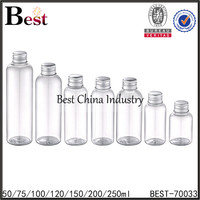 new design 120 / 150 / 250ml clear empty plastic bottle