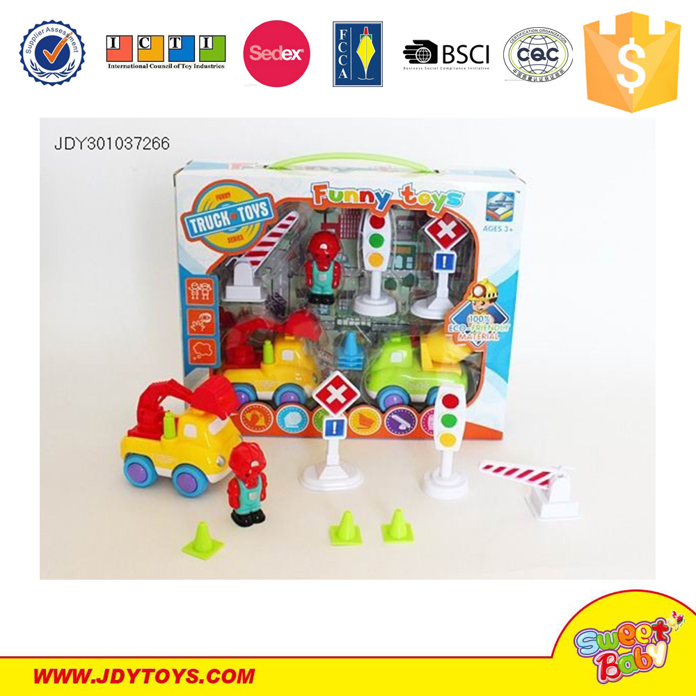 Plastic friction power engineering car toys