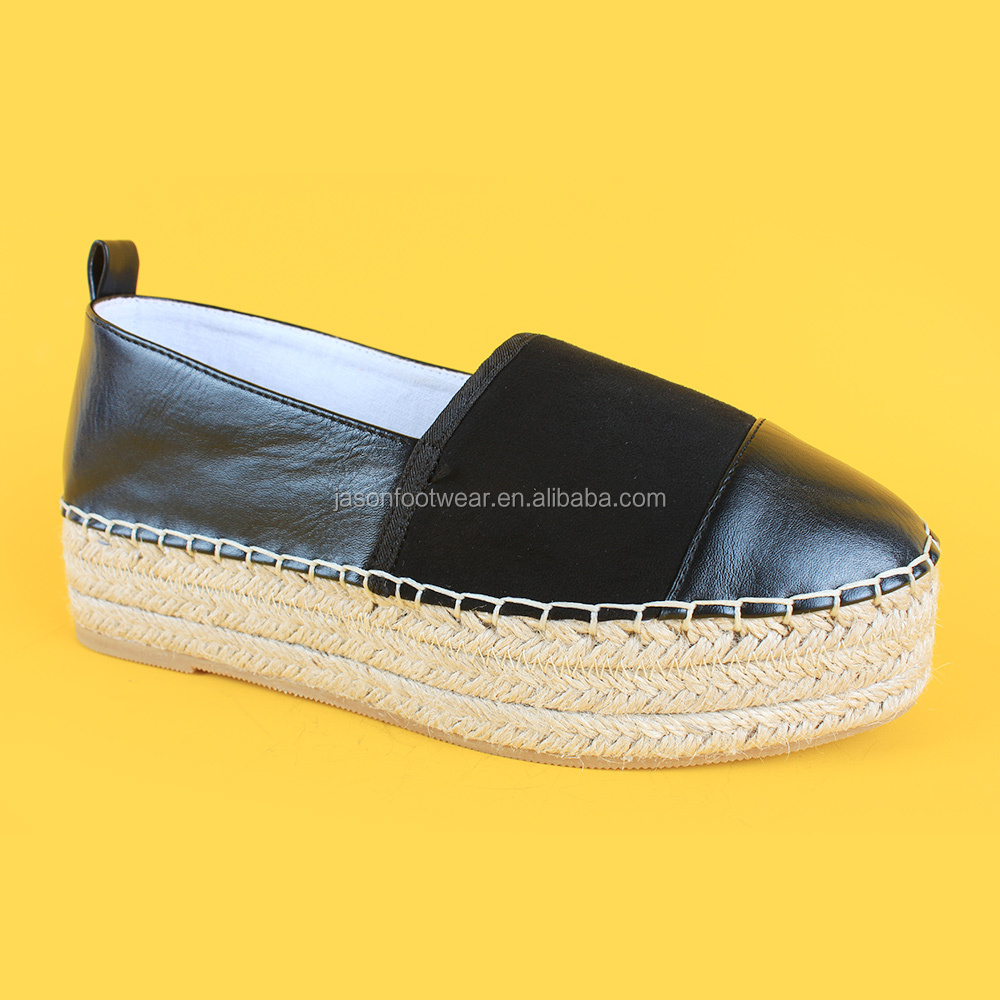 Chic Women High Flat Black Slip-on Platform Espadrille Shoes