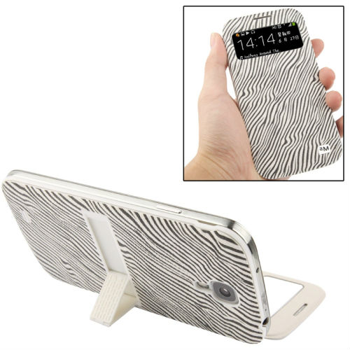 Selling Online Same Day Shipping Zebra Texture Call Display Flip Leather Case for Samsung Galaxy S IV / i9500 (White)