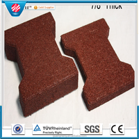 Interlocking rubber tile colorful park rubber paving Recycle rubber brick