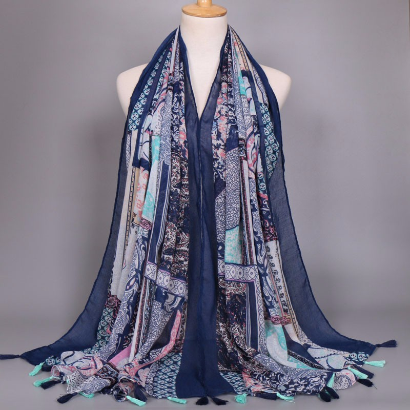 Bohemian popular design women tassels scarf viscose shawls printed flower muslim muffler fashion beach echarpe /scarves