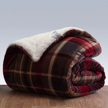 red plaid flannel reversible fluffy sherpa fleece blanket for bedroom