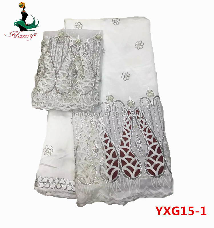 Haniye YXG15-1 white george lace fabric/african george wrapper /lace fabric for blouse guaranteed quality
