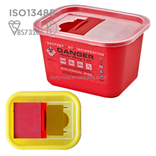 clear hinged lid sharps container