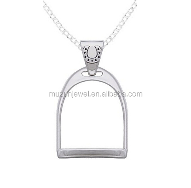 925 Sterling Silver Horse Stirrup Pendant Necklace