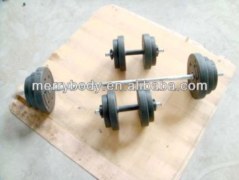 40kg Adjustable vinyl/cement barbell dumbbell set
