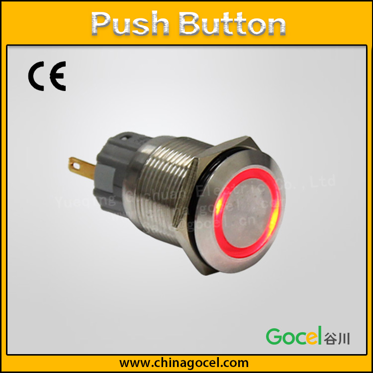 19mm ring LED signal lamp 2 pin metal push button stainless steel touch switch S1-AGQF-E/S