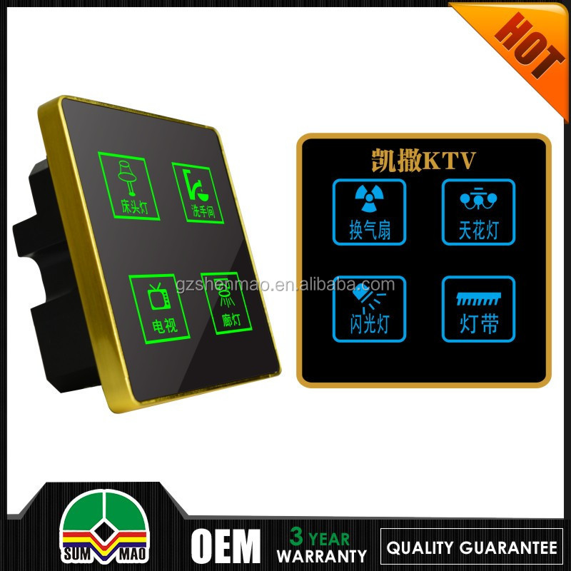 new design Wallpad Customize LED UK Black Waterproof Crystal Glass Touch switch 110~250V 5 gang 1 way Touch Light Wall Switch