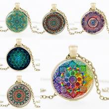 FT-17 Wholesale Alibaba Fancy Turkish Glass Terrarium Mandala Pendant Necklace