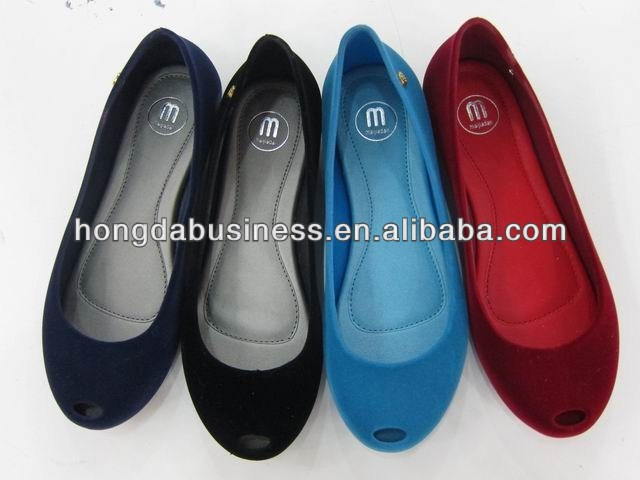 Women's open toe flocking pvc shoe 2014
