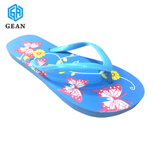 Light Blue Nude Women Summer Daily Wearing Rubber Flip Flops Slipper Beach