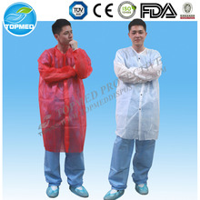 OEM factory PP+PE disposable lab coat ,elastic or knitted cuff