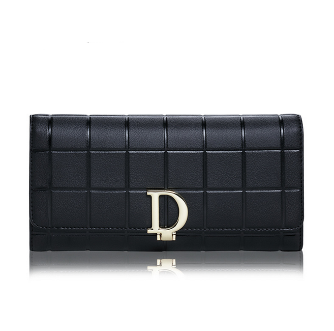 USA Fashion Ladies Letter D Buckle Women Wallets Luxury Bag Female-purse Long Clutch Purses Coin Pocket Genuine Leather Wallet