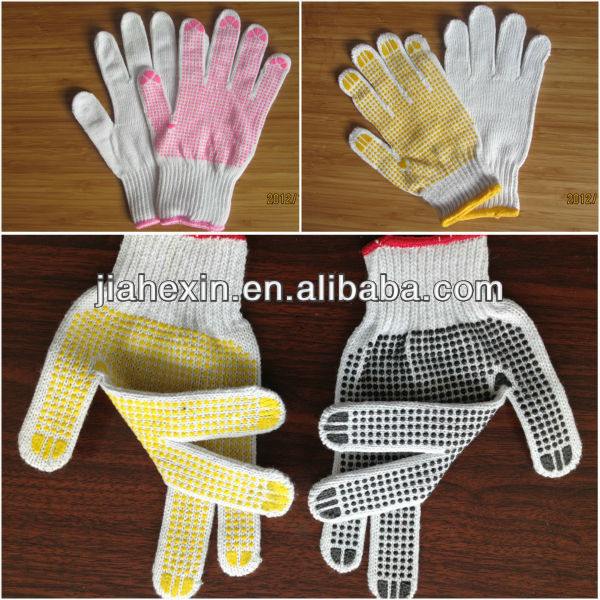 beautiful natural white cotton gloves with PVC dots cotton gloves