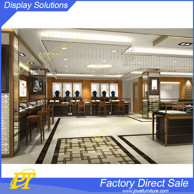 2017 Popular jewelry store display furniture design idea, cases with storage brand store design theme