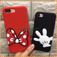 Cute 3D Cartoon Silicone Bowknot Mouse soft back cover case for iphone 7