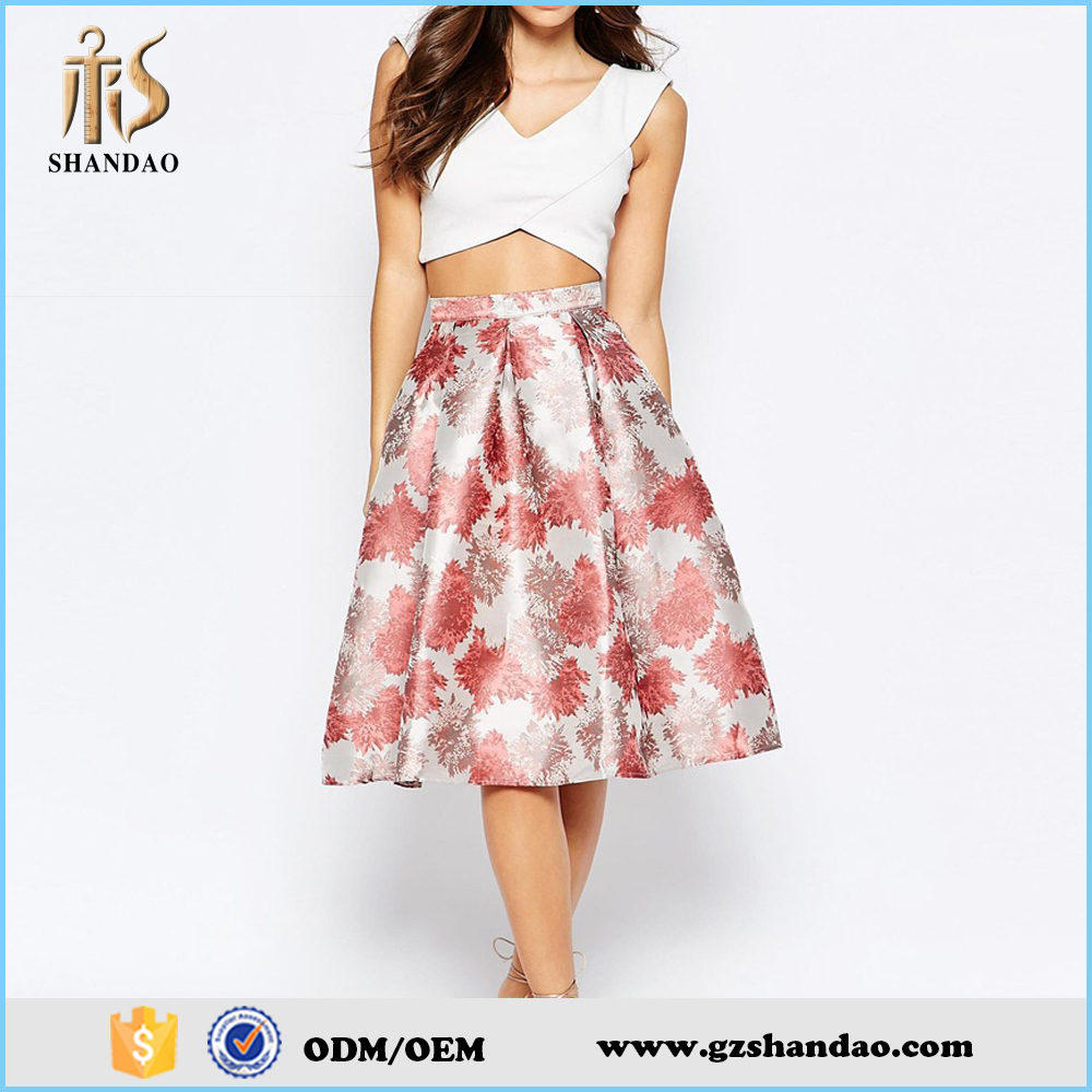 2016 guangzhou shandao summer new design fashion midi floral printing skirt for women