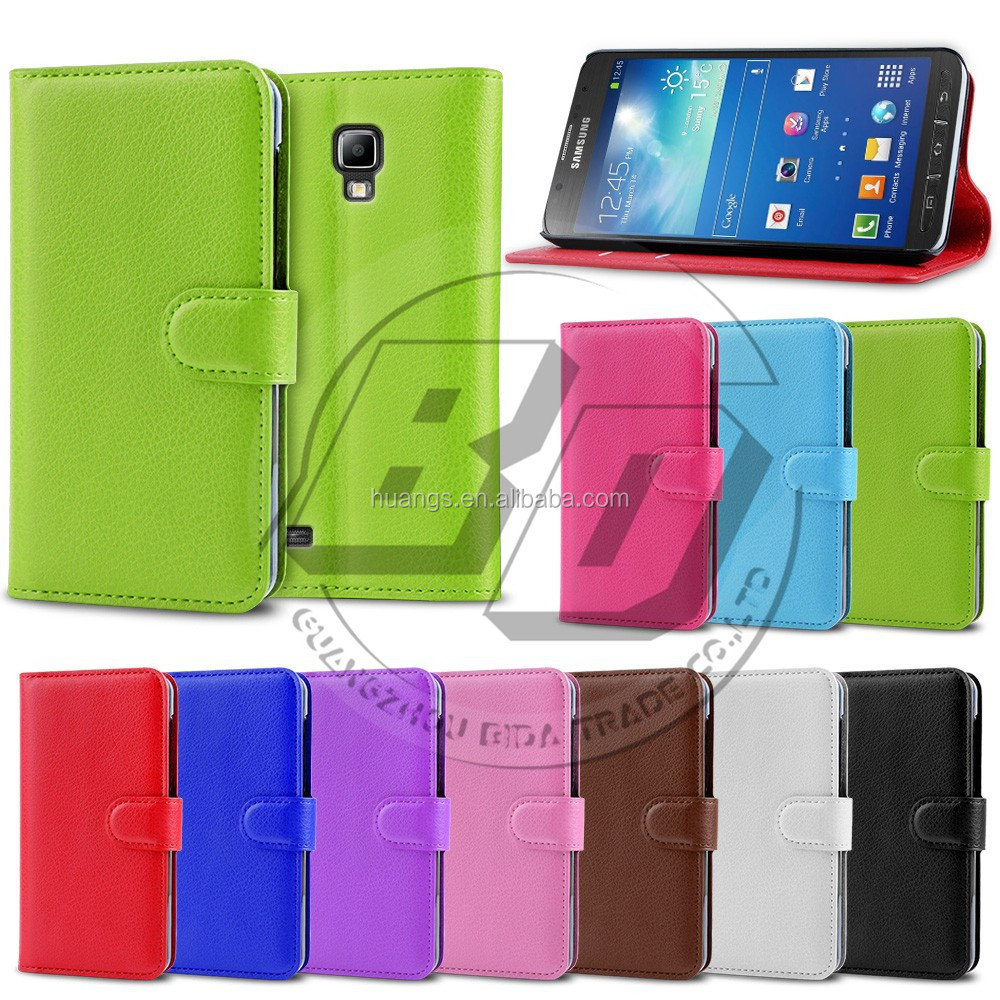 Top quality Litchi Stripes Leather Flip Wallet Case for Samsung Galaxy S4 Active I9295