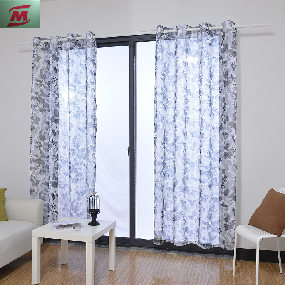 Very popular leaves printed faux linen sheer grommet curtain for living room