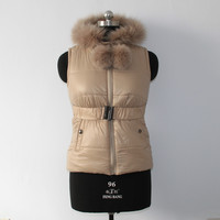 Factory price cotton vest with fox fur hood made in China