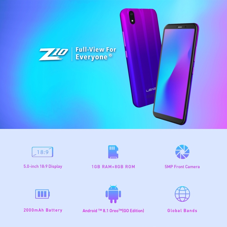 Dropshipping New Product LEAGOO Z10 Unlocked Mobile Phone 5.0 inch Android 8.0 3G Smart Cell Phone