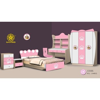 2015 hulubao 1316A pink and white MDF comfortable and eco-friendly children bedroom,kids bedroom furniture for girls