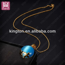 2014 fashion light blue stone necklaces designs