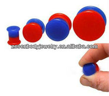Vogue Red And Blue Silicone Ear Plug Body Piercing Jewelry
