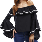APHACATOP Spring Summer Off Shoulder Ruffles Chiffon Ladies Blouse