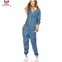 Jeans Women Jumpsuit Fashion Causal Losse Jeans Pants Long Sleeve Front Button Around Collar Elegant Jumpsuit
