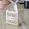 Customized laser cut white pearl paper party supplies wedding giveaways return favor gift