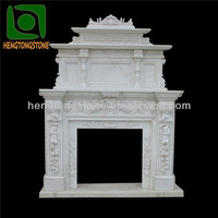 Decorative Double White Marble Fireplace Surround