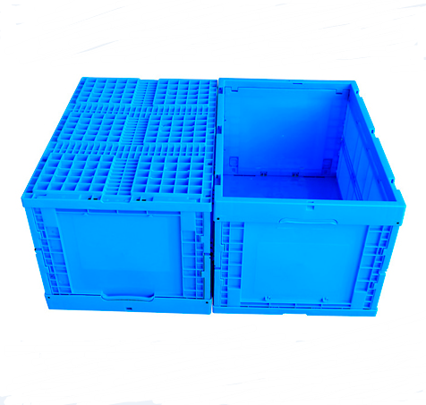 foldable stackable <strong>plastic</strong> moving crates of pp <strong>material</strong> with lid for storage for sale China factory