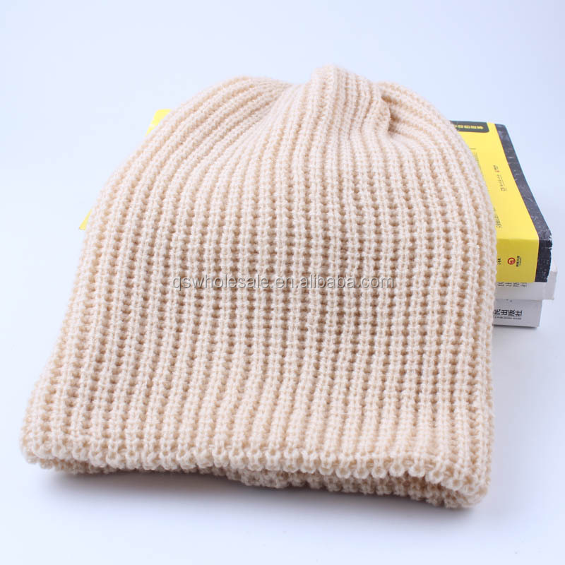 Europe and America popular men 's outdoor knitted hat vertical lines acrylic knitted hat wool sets of hat wholesale