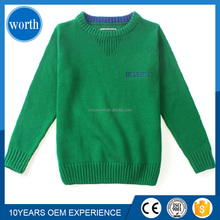 top design pullover plain dyed round neck knitted sweater